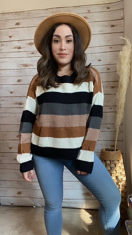 In Love With Fall Colorblock Pullover - Elizabeth's Boutique