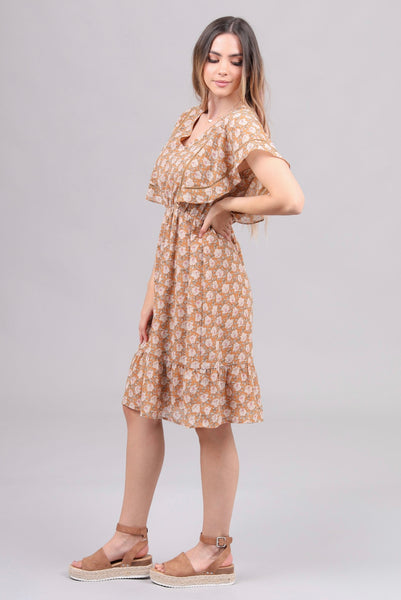 Lauren Yellow Floral Dress - Elizabeth's Boutique