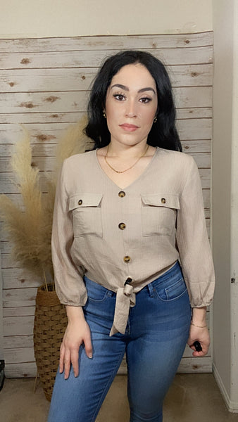 Audrina Tie-Front Button-Down Top-Taupe - Elizabeth's Boutique