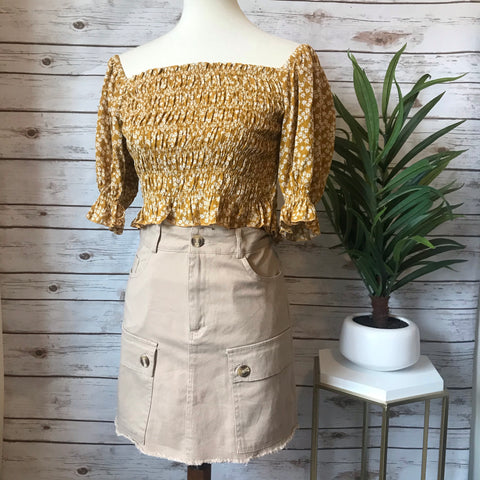 Cargo Skirt- Light - Elizabeth's Boutique