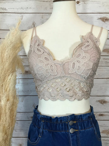Give Me All the Romance Light Taupe Bralette - Elizabeth's Boutique