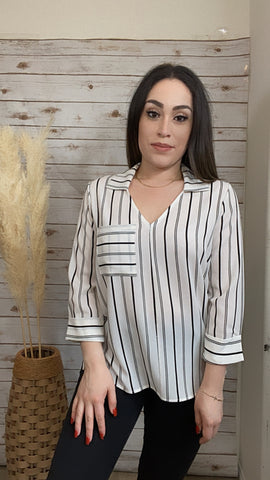 Ivory Black Stripes Top - Elizabeth's Boutique