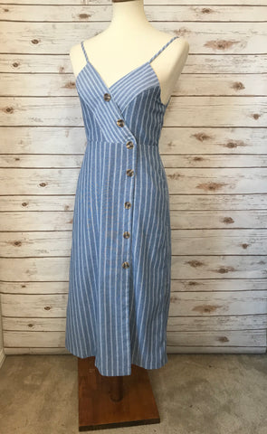 Light Blue Striped Button Strap Dress - Elizabeth's Boutique