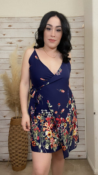 Belinda Floral, Navy Dress - Elizabeth's Boutique