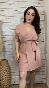 Blush Button Accent Dress - Elizabeth's Boutique