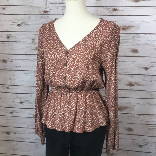 Floral Print Fall Woven Long Sleeve Top - Elizabeth's Boutique