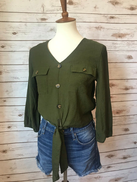 Audrina Tie-Front Button-Down Top- Olive - Elizabeth's Boutique