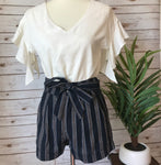 Amanda Striped Woven Cuffed Shorts with Sash - Elizabeth's Boutique
