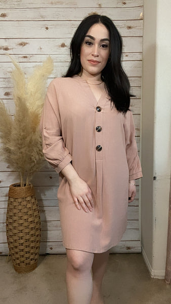 Dusty Peach Shirt Dress - Elizabeth's Boutique
