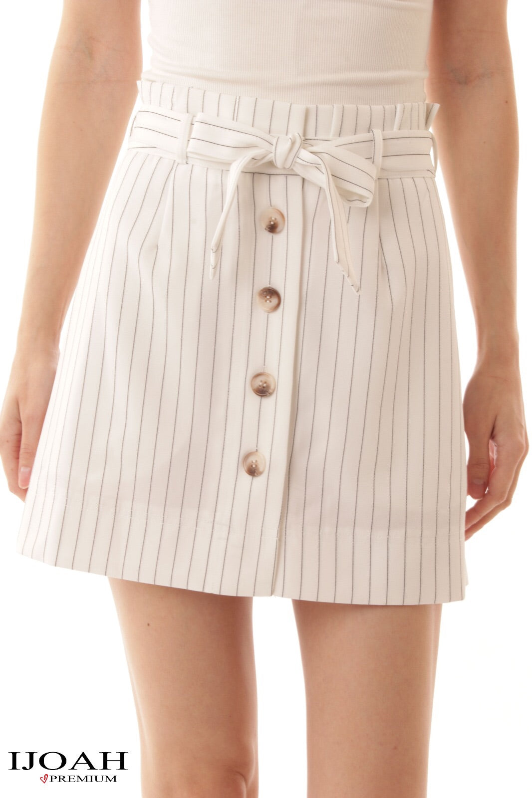 Jayda Striped Tie Front Button Skirt - Elizabeth's Boutique