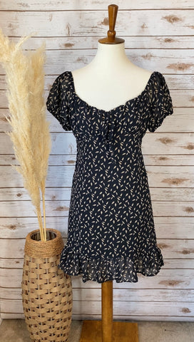 Toast to the Night Black Printed Dress - Elizabeth's Boutique