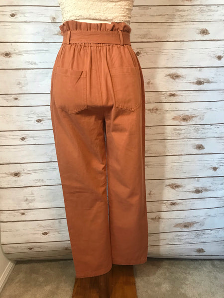 Emileen High Waist Rust Pants - Elizabeth's Boutique