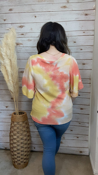 Ray of Sunshine Tie Dye Top - Elizabeth's Boutique