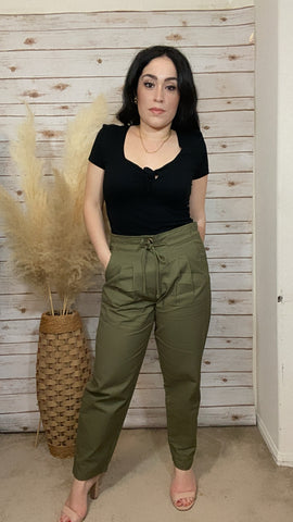 Olive Straight Leg Pants with Waist Tie - Elizabeth's Boutique