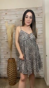 Loving You Animal Print Dress White