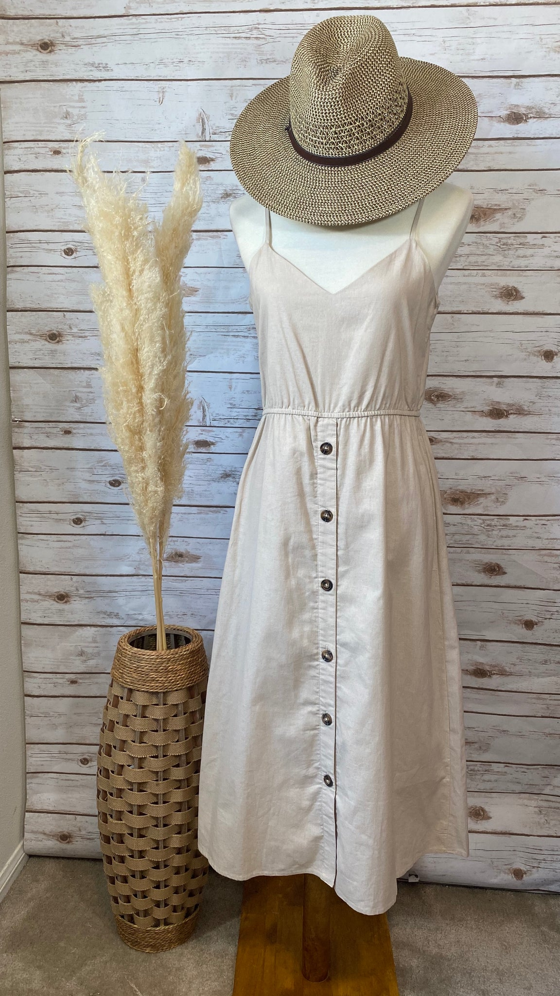 Doreen Taupe Button Down Midi Dress - Elizabeth's Boutique