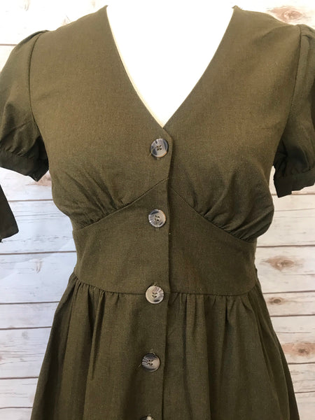 Nataly Button Down Tie-Sleeve Dress-Olive - Elizabeth's Boutique