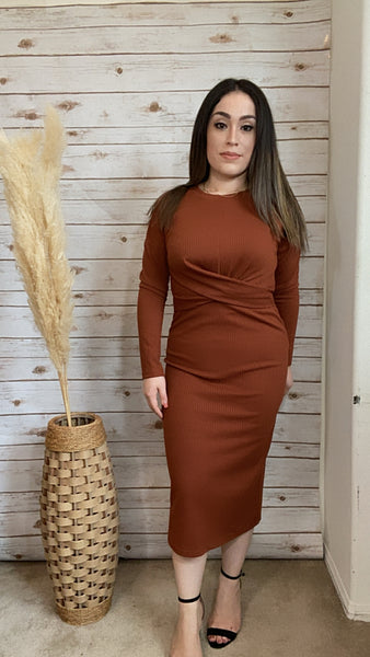 Rust Midi Body-Con Dress - Elizabeth's Boutique
