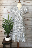 White Animal Print Dress - Elizabeth's Boutique