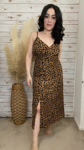 Alyssa Leopard Print Corduroy Dress - Elizabeth's Boutique