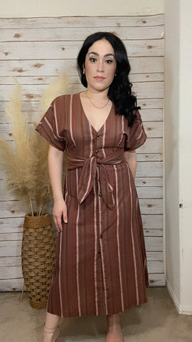 Carrey Mocha Mutli Striped Dress - Elizabeth's Boutique
