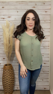 Lacey Sleeve Top-Light Olive - Elizabeth's Boutique