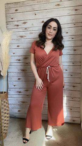 Evelin Rust Jumpsuit - Elizabeth's Boutique