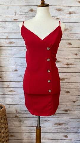 Rebecca Front Button V Neck Fitted Red Dress - Elizabeth's Boutique