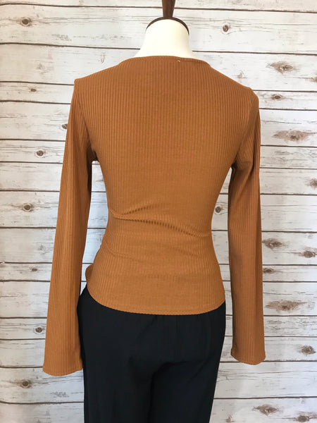 Ribbed Knotted Long Sleeve Top - Elizabeth's Boutique