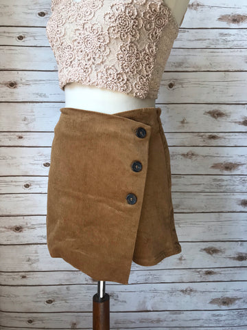 Side Button Up Wrap Corduroy Skirt-Camel - Elizabeth's Boutique