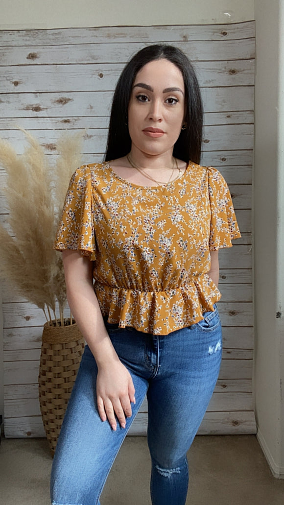 Short Sleeve Mustard Floral Crop Top