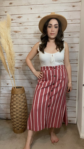 Gabby Stripe Button Front Linen Skirt