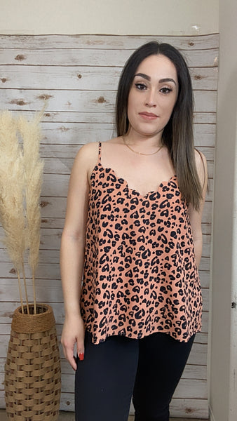 Dusty Peach Leopard Print Top - Elizabeth's Boutique