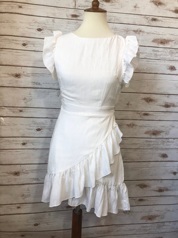 Alicia Off White Wrap Dress - Elizabeth's Boutique