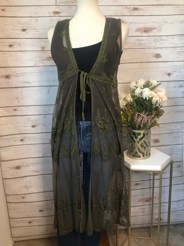 Olive Lace Duster - Elizabeth's Boutique