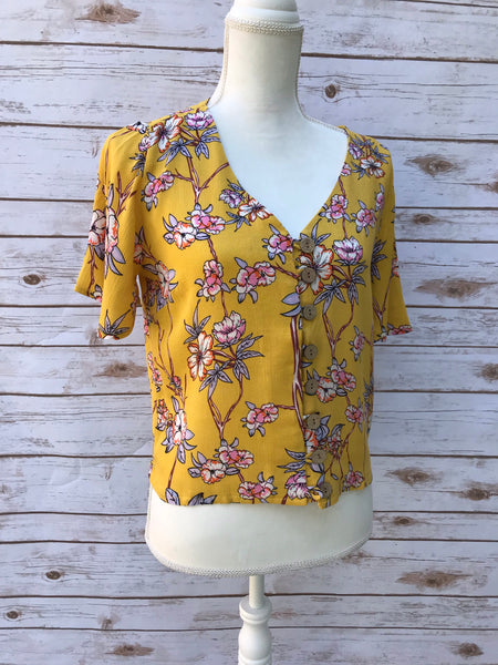 Laney Button Down Mustard Floral Blouse - Elizabeth's Boutique