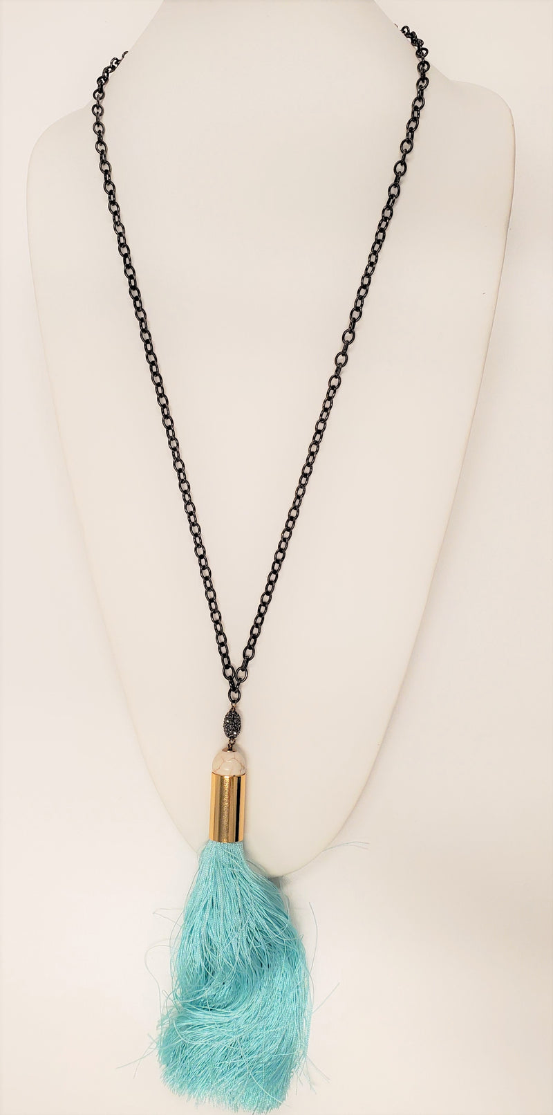 Luz Necklace, Gunmetal/Blue