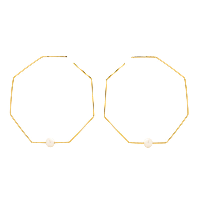 Juliette Earrings, Gold/Pearl