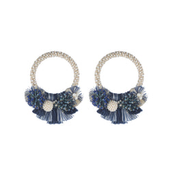 Callie Earrings, Navy