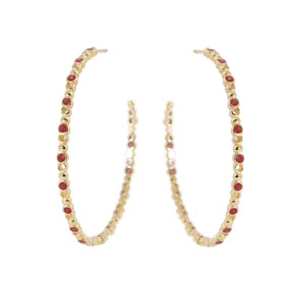 Brioni Earrings, Gold/Red