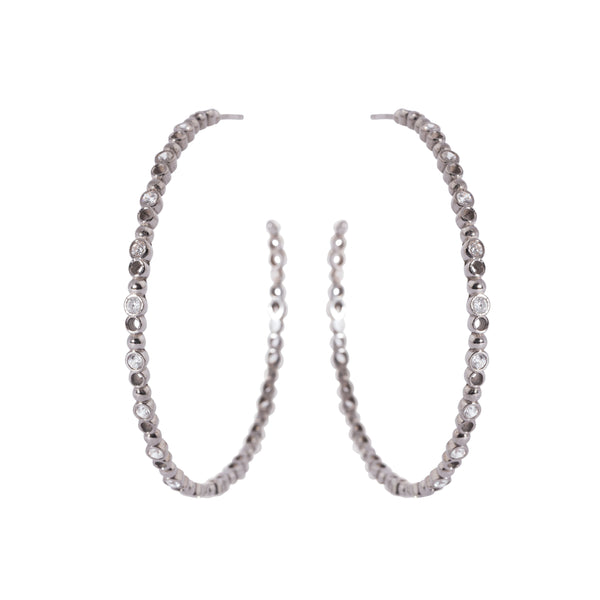Brioni Earrings, Gunmetal/Clear