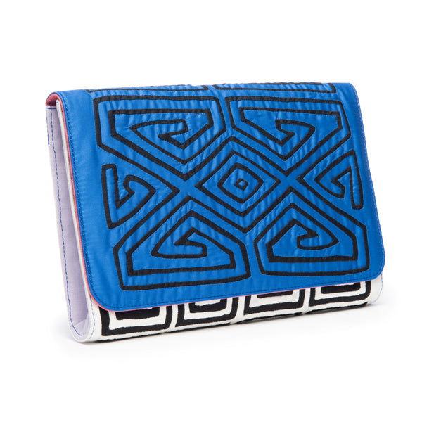 Zoe Clutch, Blue/Black