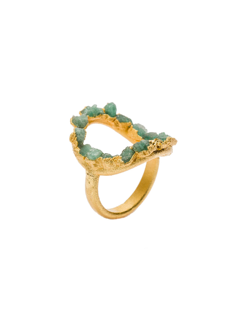 Aine Ring, Gold/Emerald