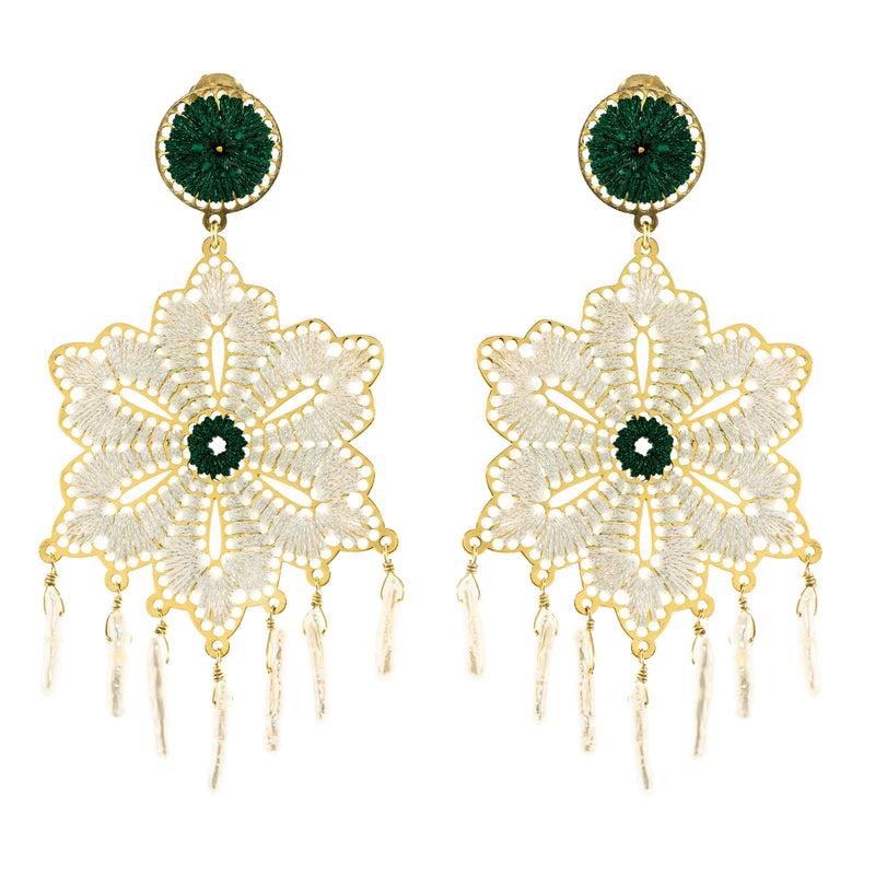 Hadley Earrings, White