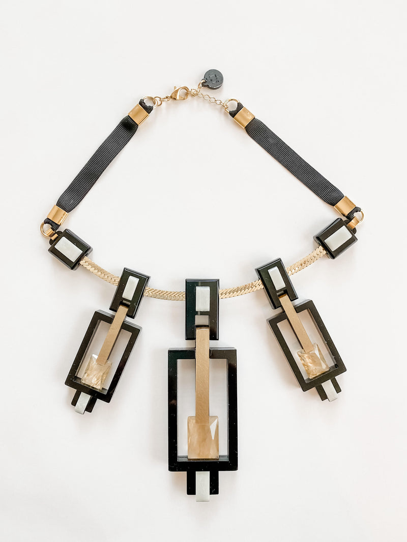 Harlow Necklace, Gold/Black