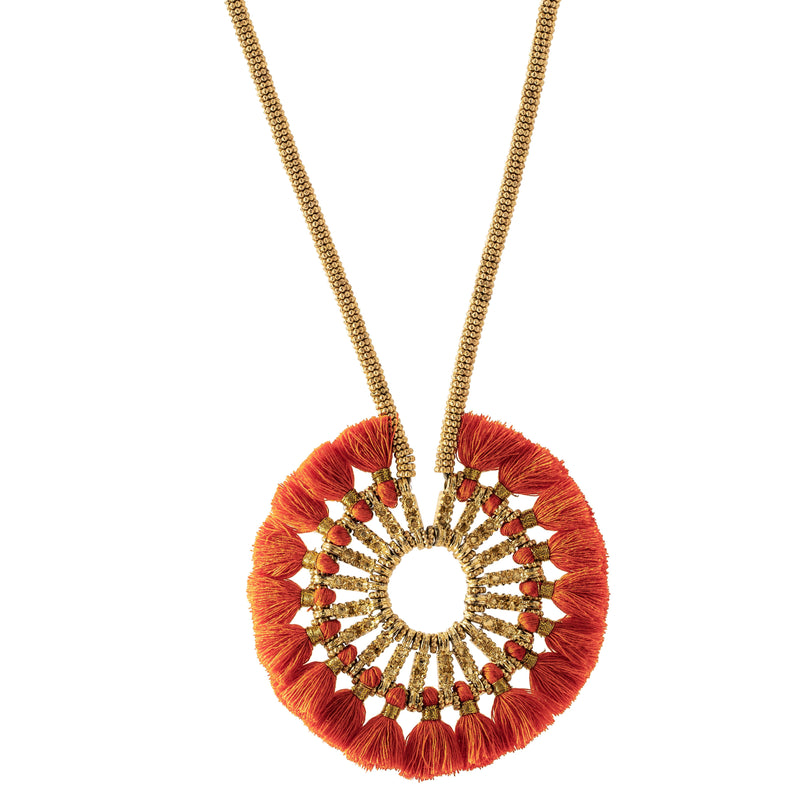 Jayla Necklace, Orange/Gold