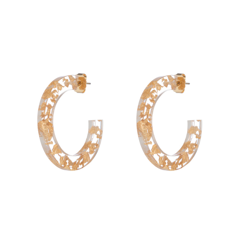 Maddie Earrings, Gold/Clear Large