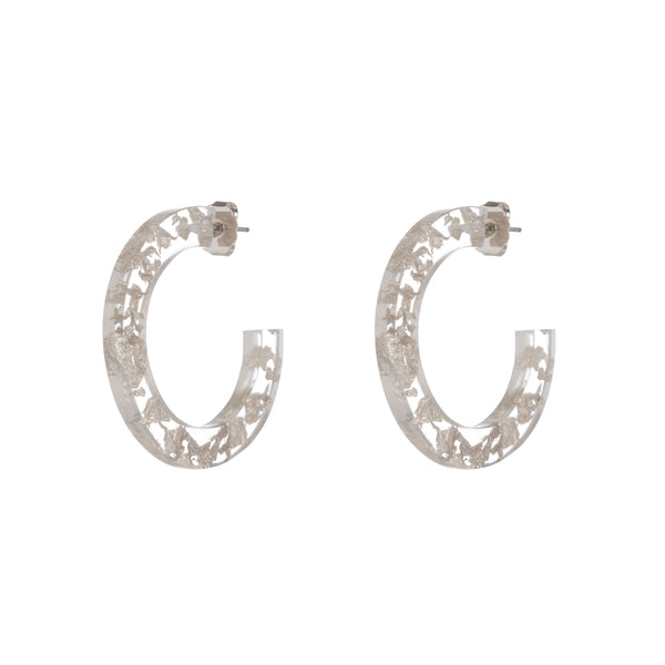 Maddie Earrings, Silver/Clear Large