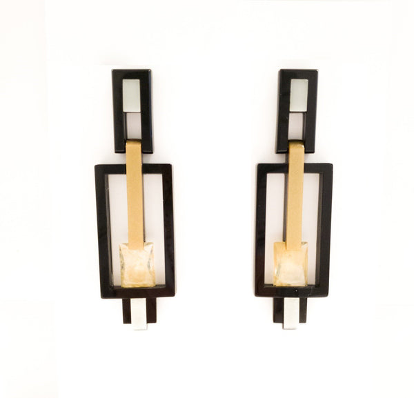 Mila Earring, Gold/Black