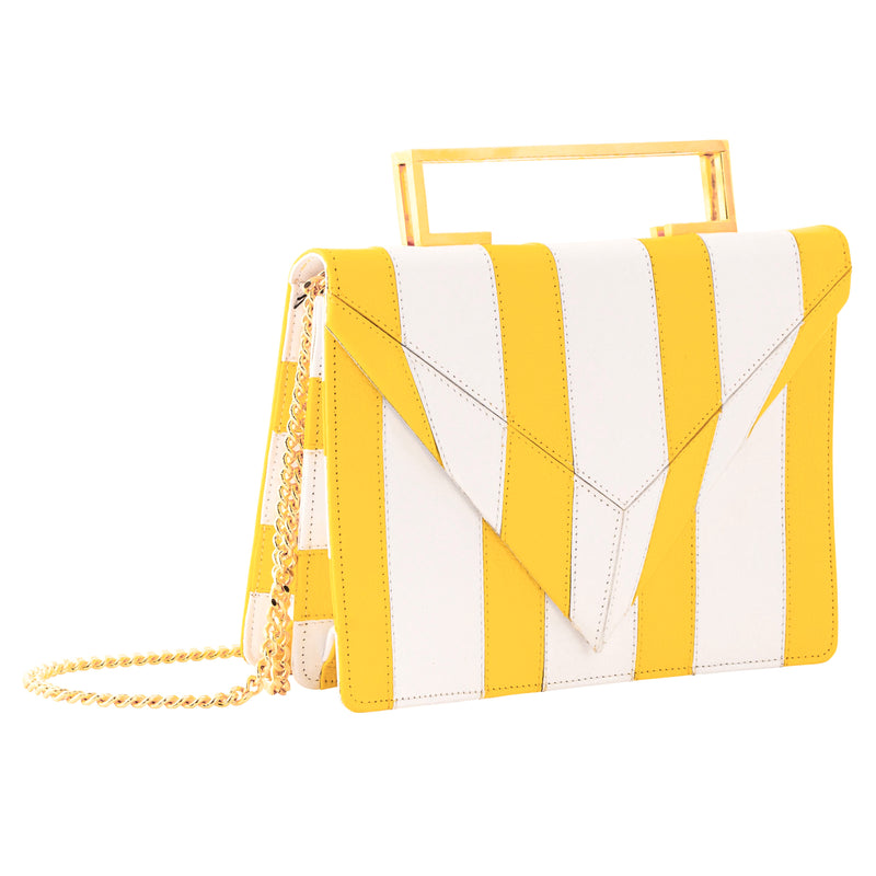 Sasha Clutch, Yellow/White